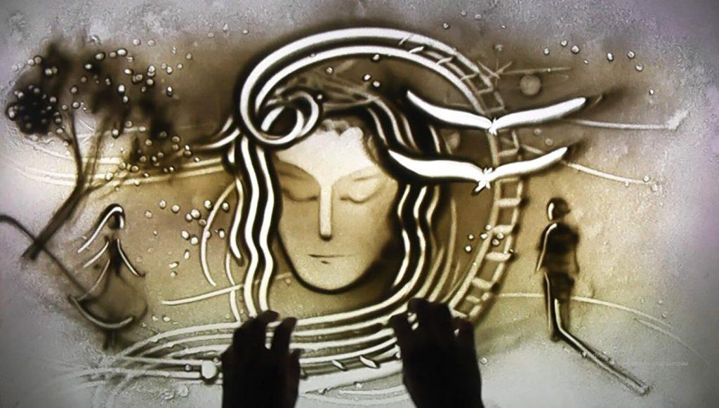 """""""Пути любви"""" - комбинация песочного шоу, стихов и музыки"""